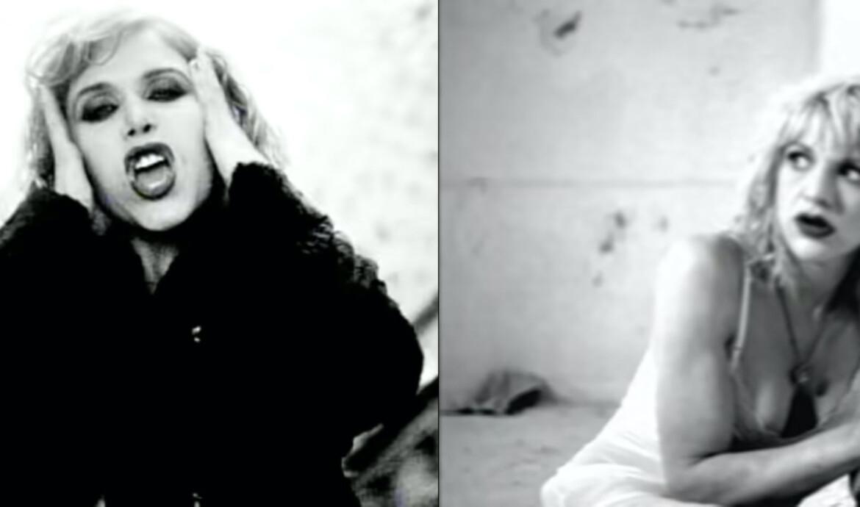 """Clarissa Dane no clipe de """"Demented"""" (1995) e Courtney Love no clipe de """"Doll Parts"""" (1994)"""